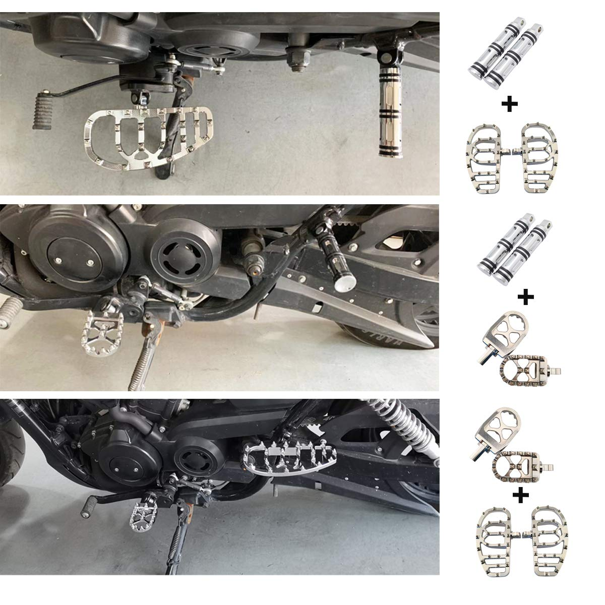 Chrome Goldfire 1 Pair Wide MX Offroad 360/° Roating Chopper Bobber Style Male Mount Foot Pegs Footrest Board Floorboard Suit For Harley