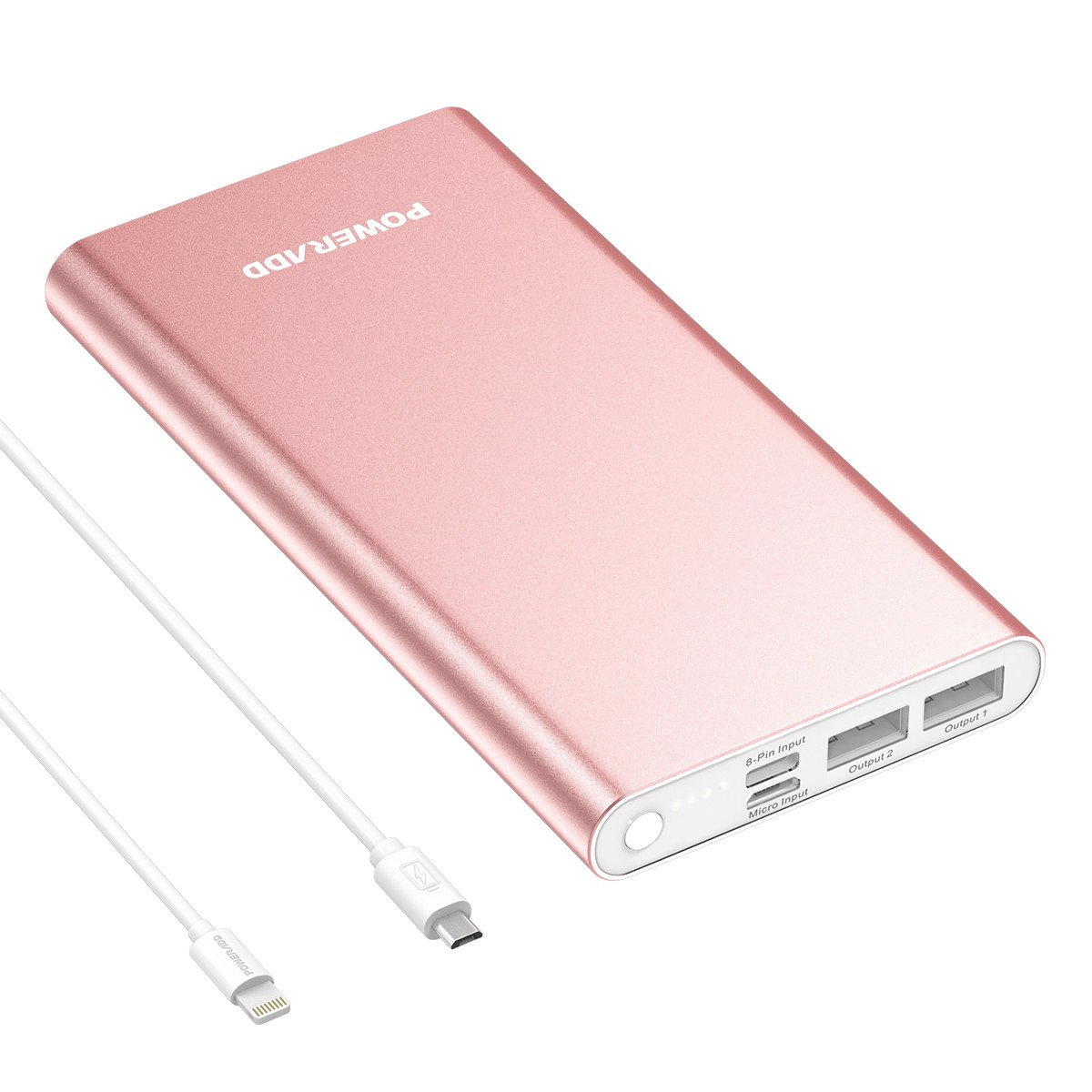 Poweradd Pilot 8GS 12000mAh iPhone Lightning Externer Akku Handy Ladegerät mit Lightning und Micro USB Input, speziell für iPhone 7, 7 plus, 6, 6 plus, 6s, 5, 5s, 5c und anroid Handys, Rosagold