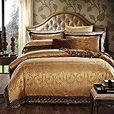SAYM Home Bedding Sets Imperial Luxury Wind 3D Effect Active Print Satin Jacquard Lace Edge Wedding Sets Patchwork 100% Cotton Duvet Cover,Flat Sheet, Shams Set,King Size,4Pcs
