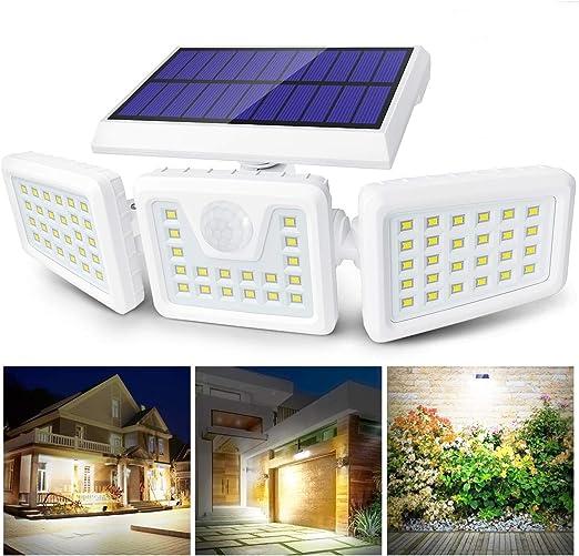 Claoner Luz Solar Exterior, 70 LED Foco Solar con Sensor de Movimiento Lámpara Solar de Seguridad Impermeable IP65 con 3 Cabezas Ajustable de 360° para Entrada Garaje Patio y Jardín: Amazon.es: Iluminación