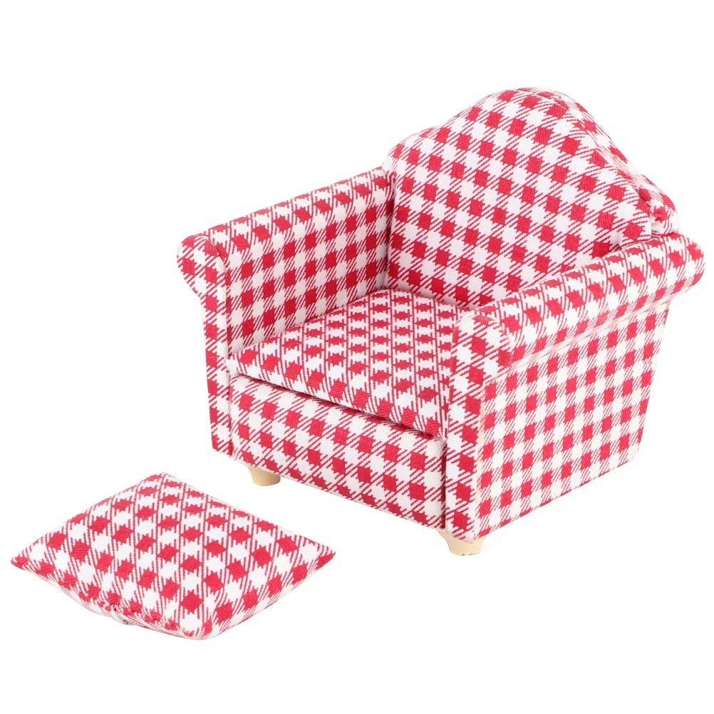iLAZ 1:12 Scale Dollhouse Furniture Miniature Mini Arm Chair, Sofa for 1 for Doll House, Miniature Accessory Kids Pretend Toy, Creative Birthday Handcraft Gift - Red
