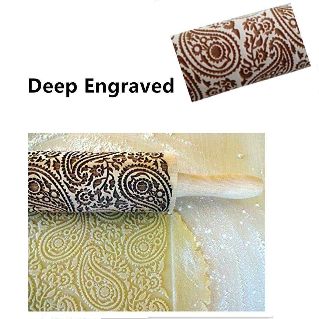 Kisshome Embossed Wooden Rolling Pins with Paisley Pattern,Engraved 3D Holiday Rolling Pins for Baking to Decorate Cookies Waffles Pastry Dough Pies,15.3 Inches Flower