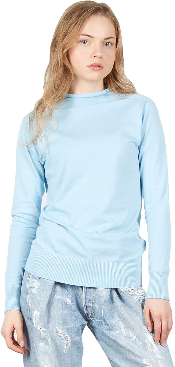 Jersey Suéter de Manga Larga con Cuello Alto Falso de Mujer en 100% algodón Pima Color BLU: Amazon.es: Ropa y accesorios