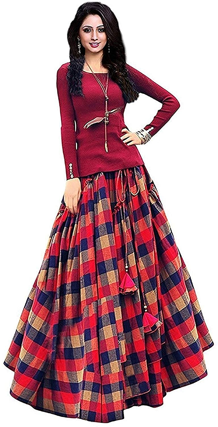 02c3a3ecdd0 fashionable village Women s Bangalori Satin Long Skirt Gown and Top (Red