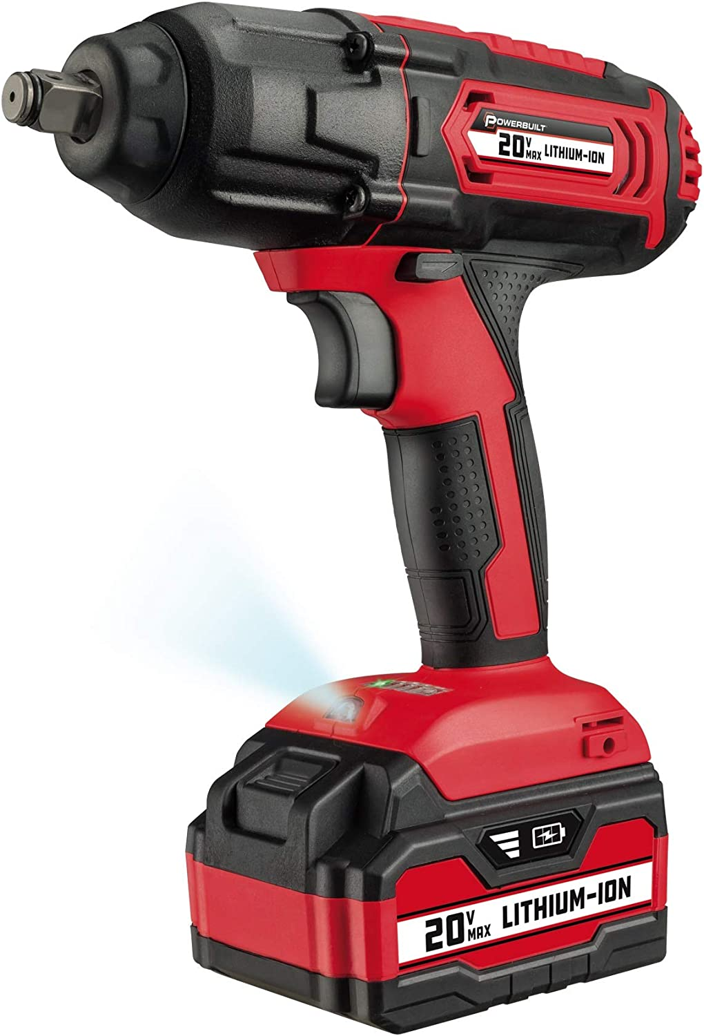 """Powerbuilt 20V Cordless 1/2"""" Impact Wrench, Variable Speed, 350 ft-lb. Max Torque, 3,000 IPM, 4 Impact Settings, 4.0 Ah Lithium-Ion Battery, LED Light, 2 Hour Charge, Storage Case - 240133"""
