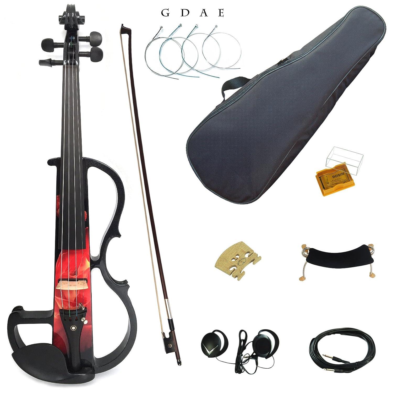 Kinglos suave caso - 4/4 Madera Maciza De Colores intermediate-b Kit de/Violín silencioso eléctrico con accesorios de ébano tamaño completo: Amazon.es: ...