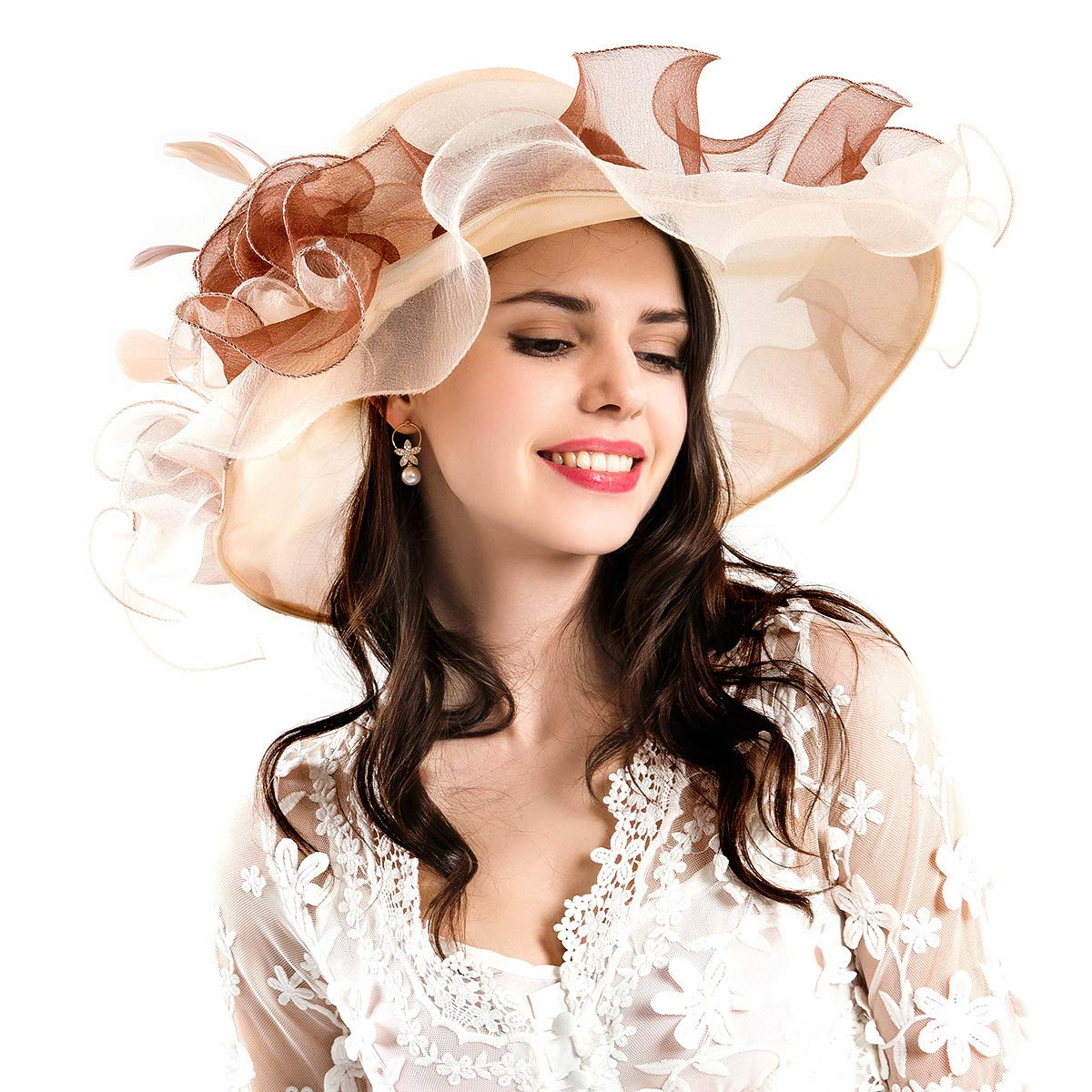 Genuva Women's Organza UV-Anti Church Derby Hat Fascinator Tea Party Wedding Hat Ruffles Wide Brim Bridal Cap (Style 3 - Beige) by Genuva