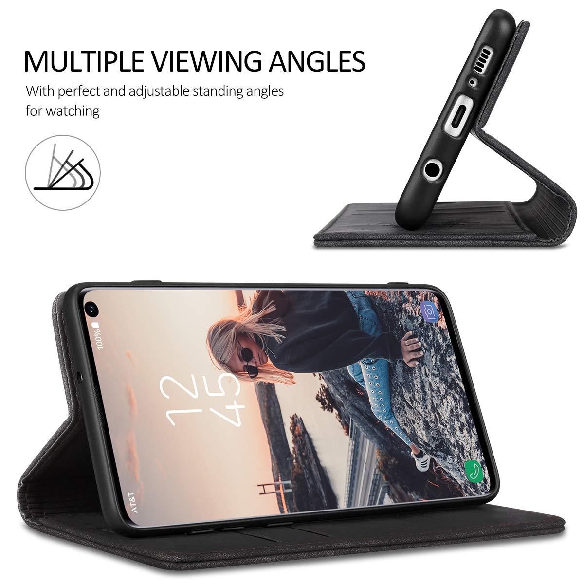 RuiPower para Funda Samsung Galaxy A51 con Tapa Funda Samsung A51 Libro Fundas de Cuero PU Premium Magn/ético Tarjetero y Suporte Silicona Carcasa Samsung A51 Vino Tinto