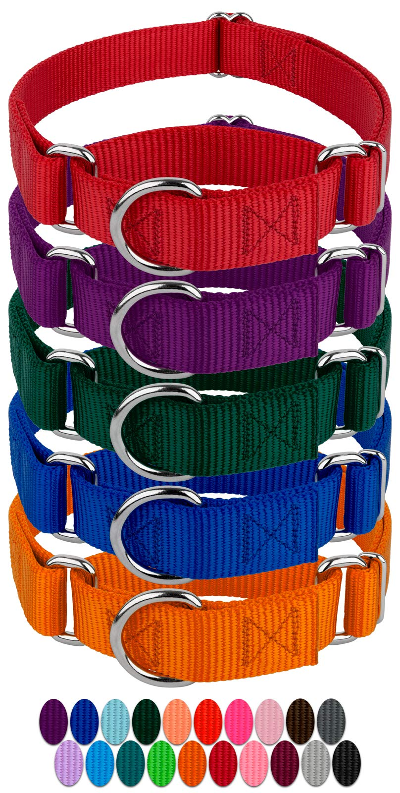 Country Brook Design 10 1 1/2 Inch Martingale Heavyduty Nylon Dog Collars (Medium, 1 1/2 Inch Wide, Assorted)