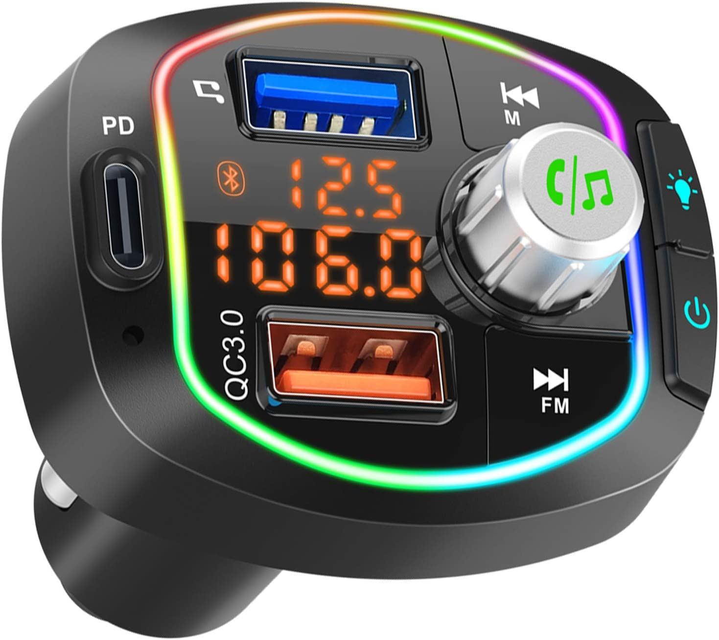 Bluetooth FM Transmitter for Car BT 5.0 Wireless Stereo Audio Adapter Hands-Free Call Kit Radio Music Player Receiver 36W PD /& QC3.0 Smart Charge Type-C USB TF Compatible LCD Dual Display RGB Light