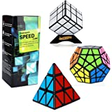 Dreampark Speed Cube Set [3 Pack] Magic Puzzle Cube Bundle Sticker - Includes Pyramid Speedcubing Puzzle, Megaminx Cube and Mirror Cube for Kids and Adults