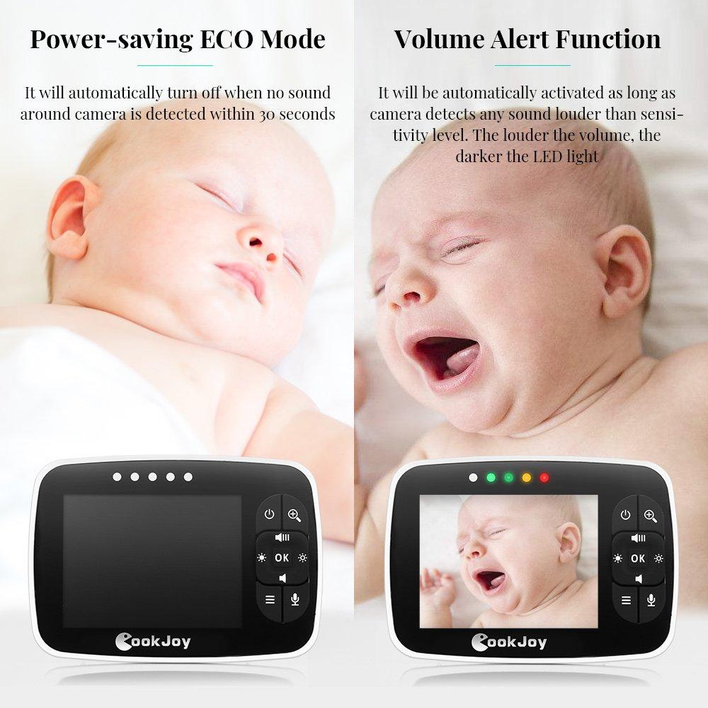 Rechargeable Babyphone/Vid/éo Berceuses Nusgear Visiophone B/éb/é avec Grand Ecran 3.5 avec Surveillance de la Temp/érature Vision Nocturne Communication Bidirectionnelle VOX Capteur de Temp/érature