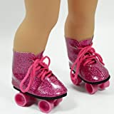 Pink Glitter Roller Skates for 18 Inch Dolls - Roller Skates for American Girl Dolls - The Cutest Doll Shoes and Doll Accessories