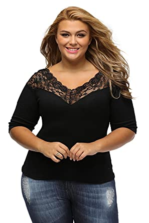 8f73100ff4bddc Libaoge Womens Sexy Black V Neck Off Shoulder Plus Size Lace Top Blouse  Shirt at Amazon Women s Clothing store