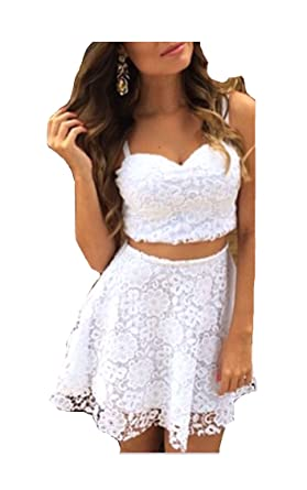 c607112b6f50 Image Unavailable. Image not available for. Color: Sexy White Lace V Neck Two  Piece Set Off The Shoulder ...
