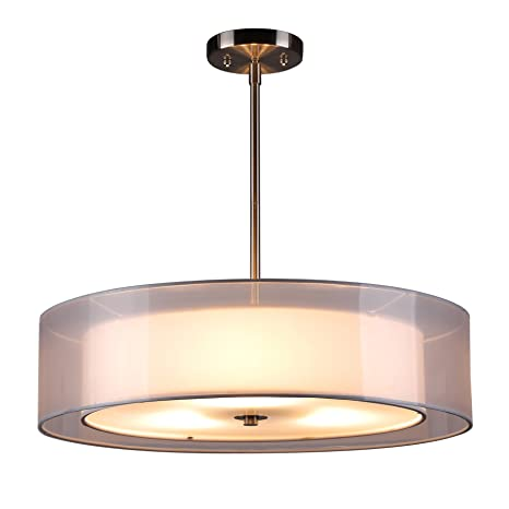 CO-Z Brushed Nickel 3 Light Double Drum Pendant Chandelier Lighting ...