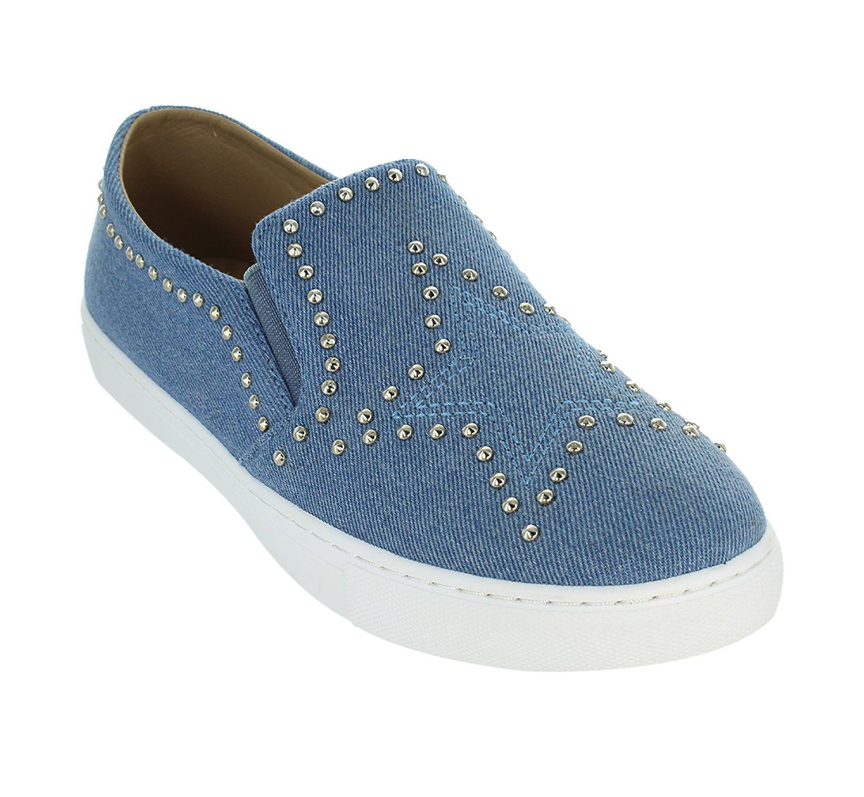 Only U Star Pattern Denim Metal Studs Slip On Flat Sneaker B077Y733GL 8.5 B(M) US|Blue Denim