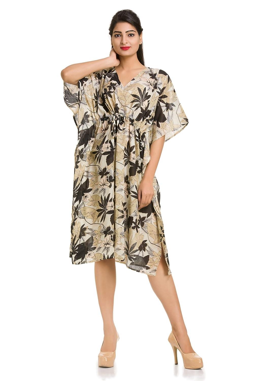 f06aac13c2 beige floral printed short caftan sleepwear maxi kimono cover up short free  size tunic short maternity