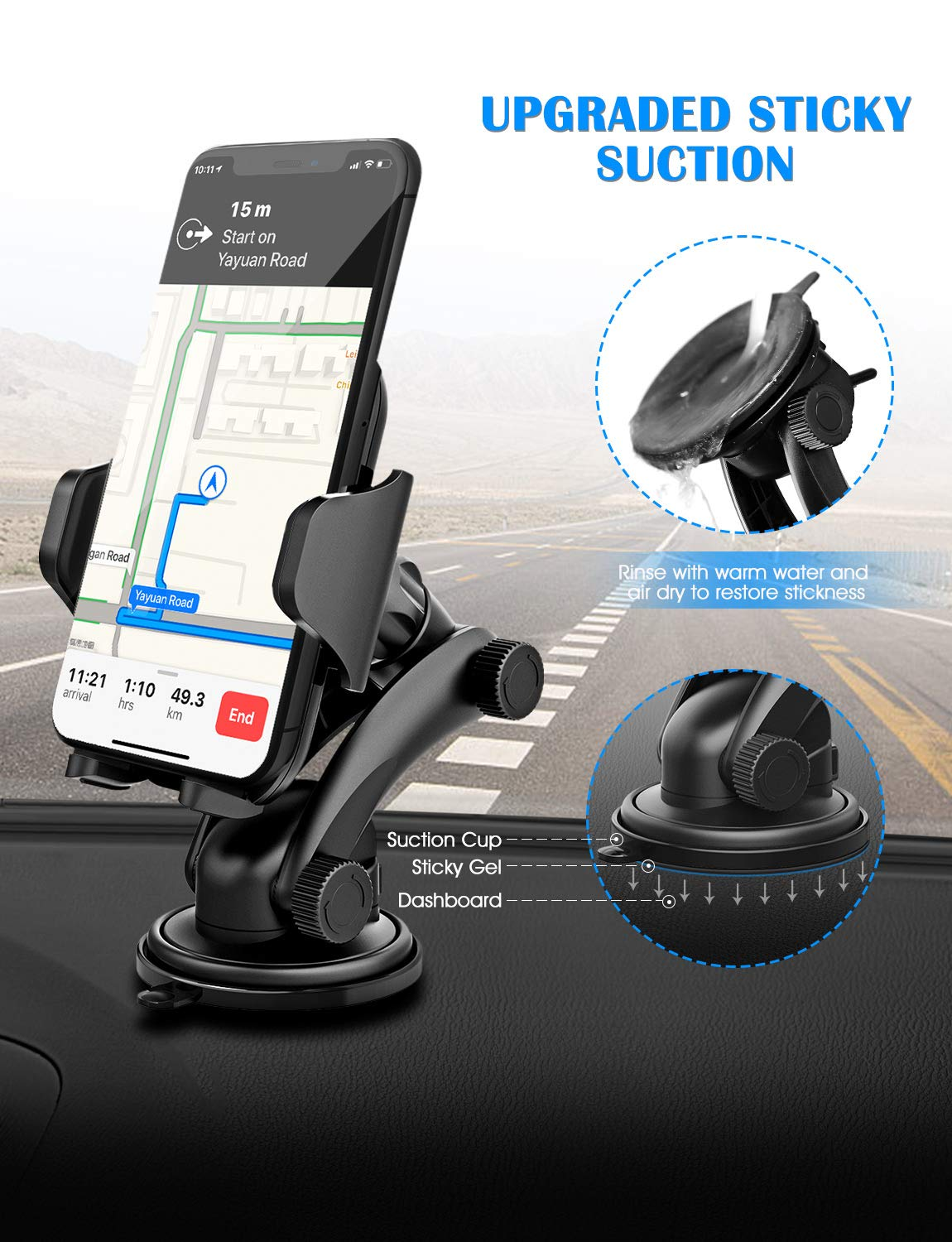 Galaxy S8//S7//S6 Mpow M12 Dashboard Car Phone Mount One-Touch Design/&Washable Strong Sticky Gel Pad for iPhone X//8//8Plus7//7P//6s//6P Huawei and Other Phone MCM12-USAA6 Google Universal Car Phone Mount Holder