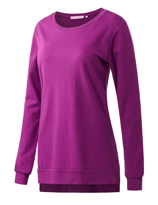 Regna X Boho for Womens Long Sleeve Oversize Tunics Navy Small Side Splits Hem Tunic Sweatshirts