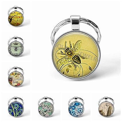 Amazon.com: Llavero de abeja de miel con abeja, de cristal ...