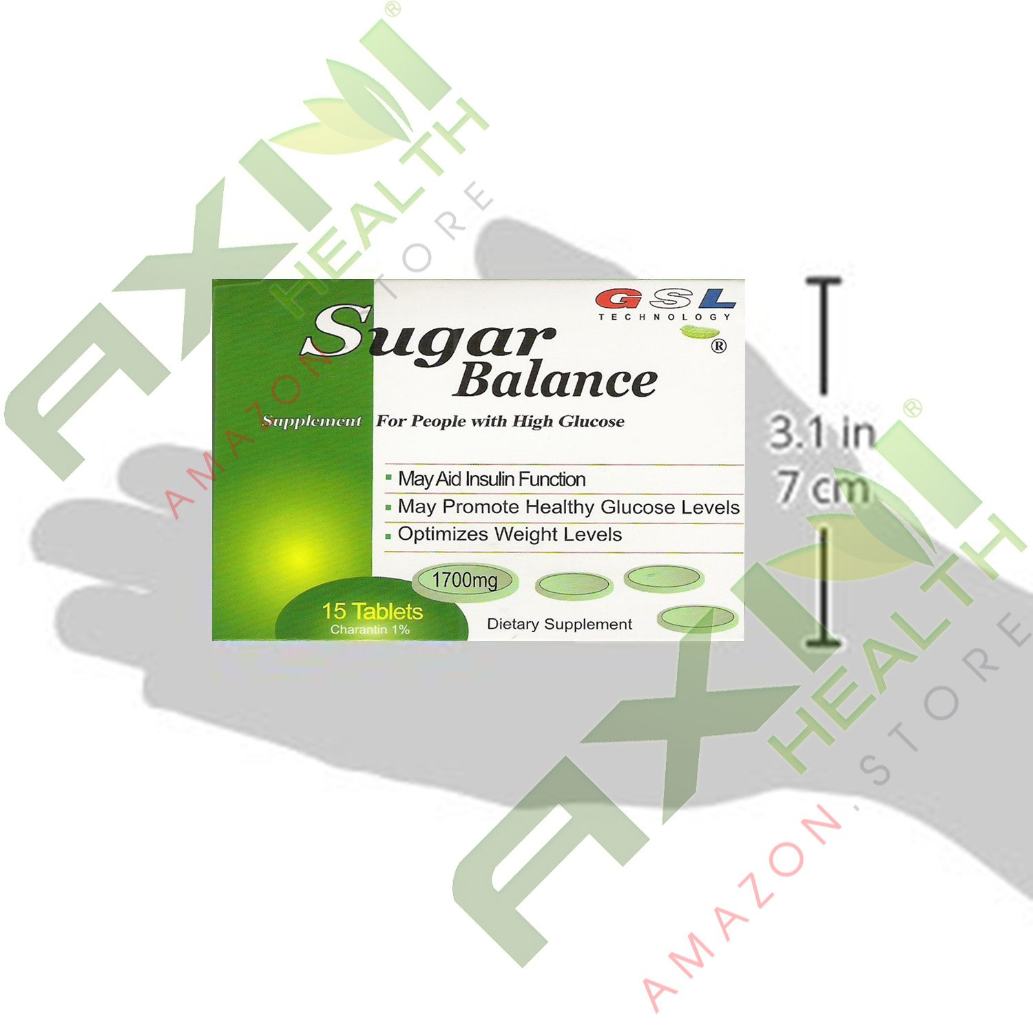(20 Boxes)Sugar Balance Supplement for People with High Glucose 1700 Mg 15 Tablets Per Box (20 Pack) By GSL
