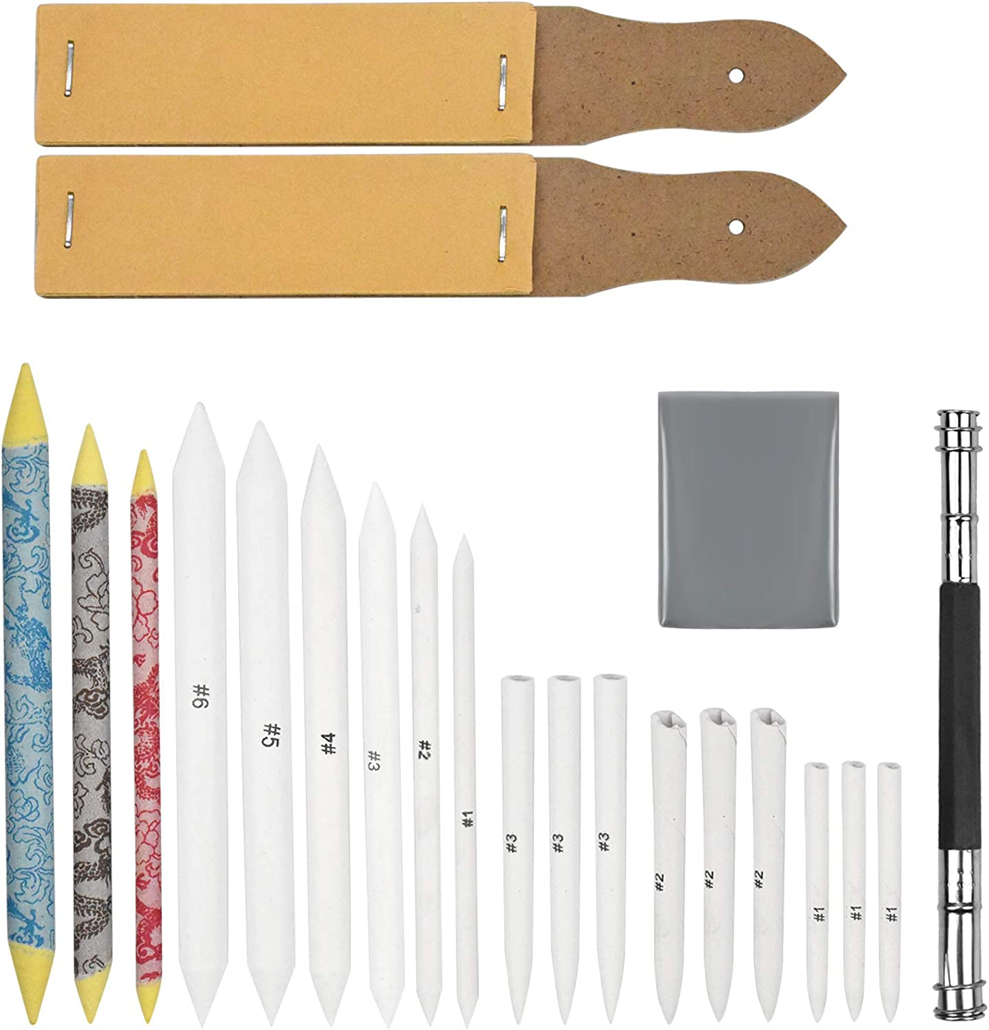 25Pcs Blending Stumps Paper Tortillon Set Kneaded Eraser for Student Artists Sketch Drawing 12 Different Sizes Blending Stumps and Tortillions with Sandpaper Pencil Sharpeners Pencil Extension Tool