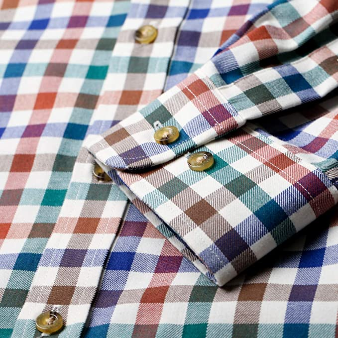 Viyella Camisa de ajuste clásico 80/20, color rojo, verde y ...