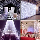 Neretva Window Curtain Icicle Lights, 304 LEDs String Fairy Lights, 9.8x9.8ft, 8 Modes Linkable , Daylight White , Christmas/Wedding/Party Backdrops Decorative Lights