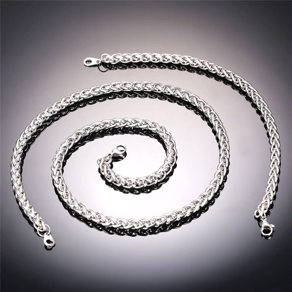 U7 Rope Wheat Chain 3mm//5mm// 6mm//9mm Boys Mens Fashion Jewelry Stainless Steel Fashion Necklace//Bracelet//Chain Set Length 18 inch to 30 inch Wear Alone or with Pendant