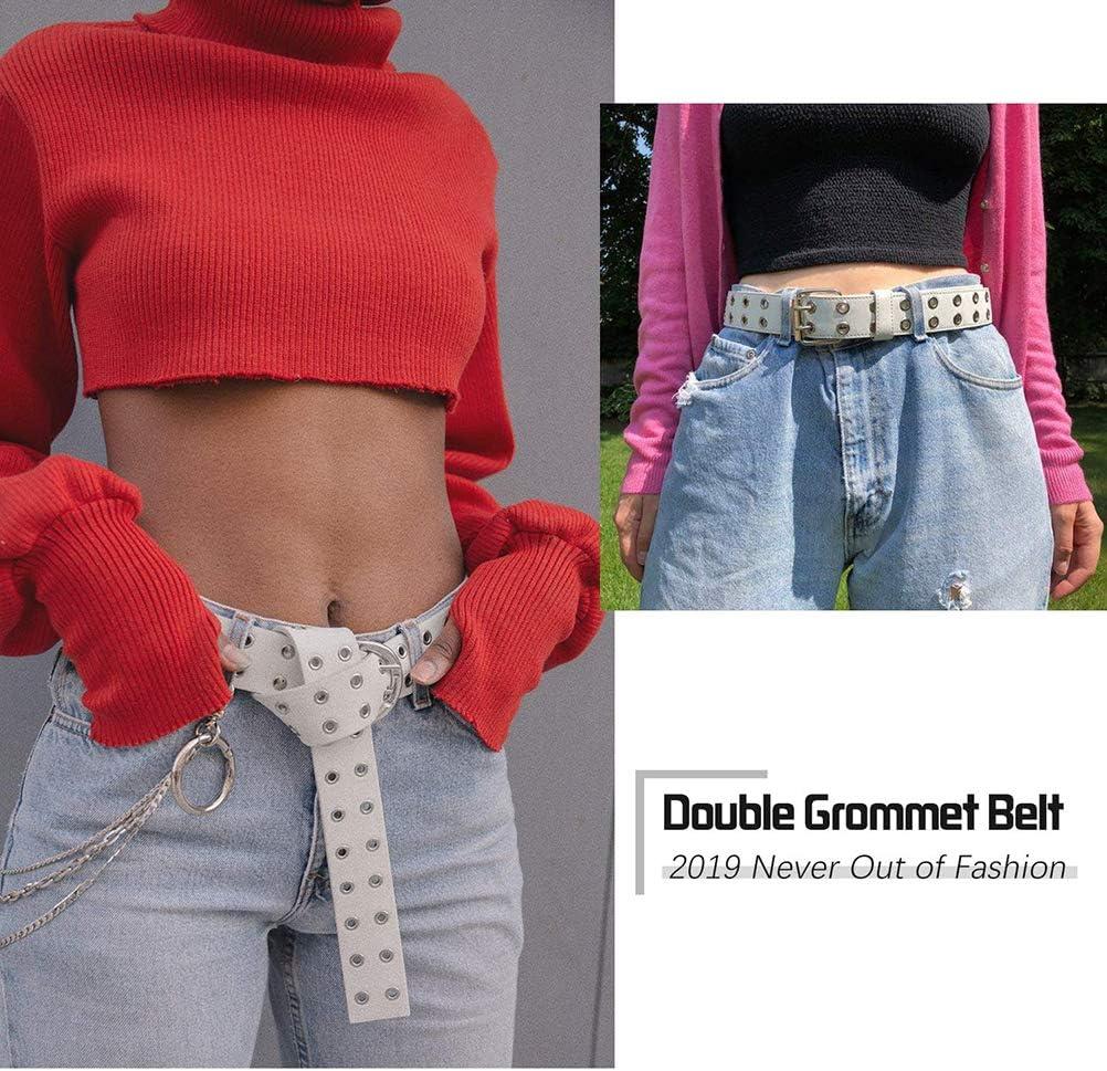 Worglo Women Double Loop Buckle Slim Belt Casual Leather Belt Double Grommet PU Leather Belt Fashion Punk Belt Women Pants Belt