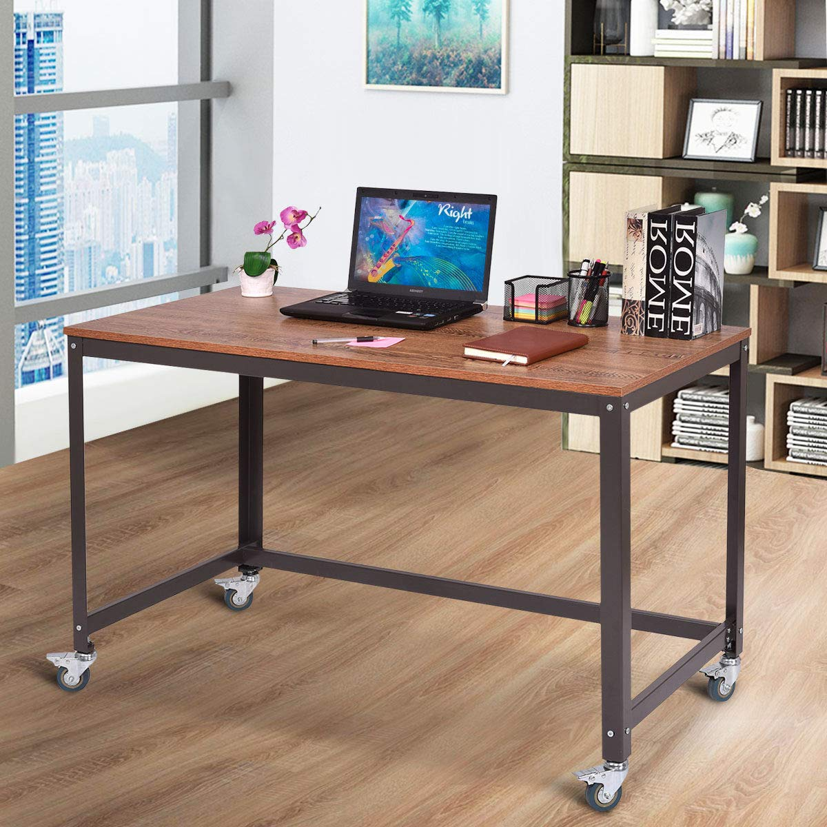 Tangkula computer desk wood portable compact simple style home office study table writing desk workstation with 4 smooth wheels home office collection