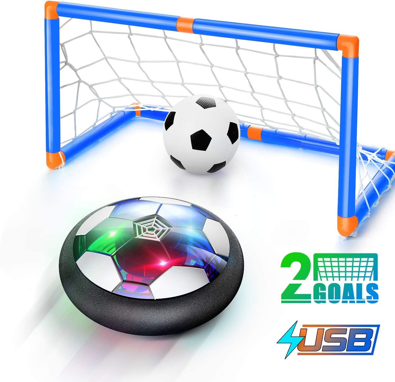 WisToyz Hover Soccer Ball Set 2020 Version, Rechargeable Air Soccer No Battery Needed - 2 Upgraded Goals, LED Light, Extra Soccer Ball, Hover Soccer to Hone Soccer Skills Indoor, Gift for Toddles Kids