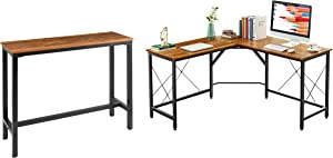 "Mr IRONSTONE L-Shaped Desk 59"" & Bar Table 47"" Space-Saving, Easy to Assemble (Vintage)"