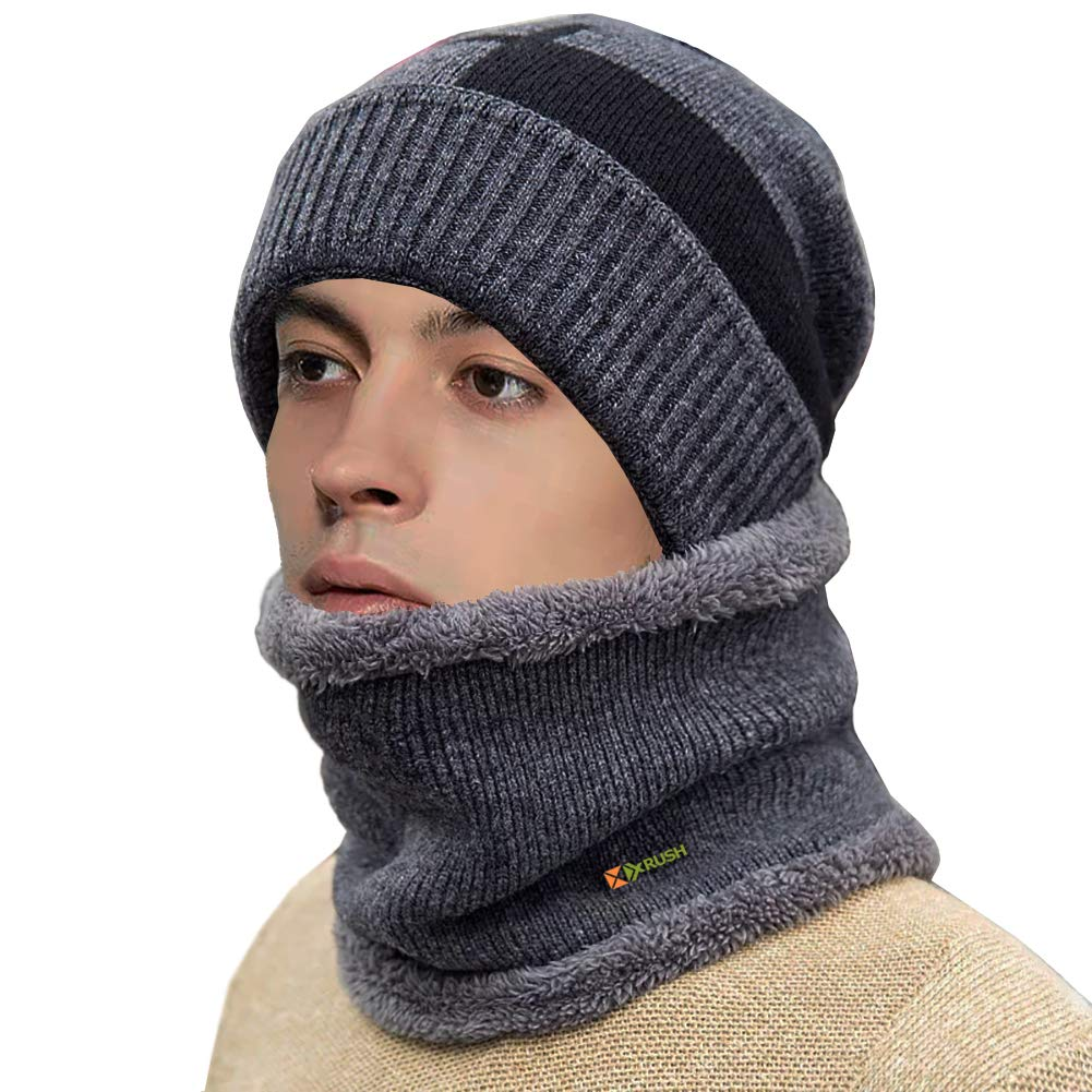 1a390062a8b Winter Beanie Hat Scarf Set Thick Soft Lightweight Knit Skull Cap for Men  Women Nap Cloth