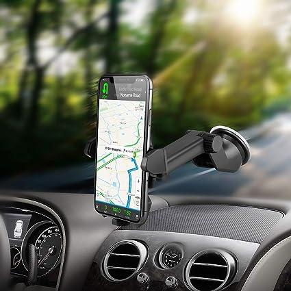 VEECEE Soporte Móvil Coche,Phone Holder Universal con Ventosa de Gel Fuerte para Parabrisas/