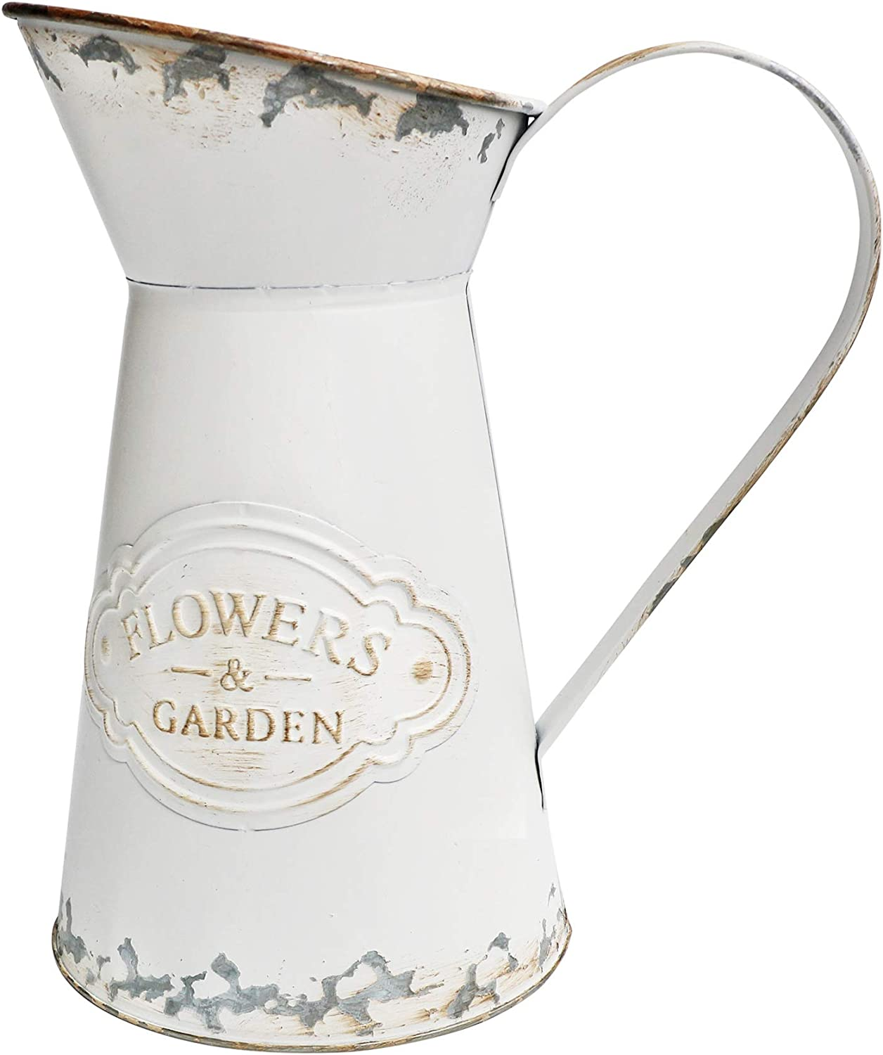 VANCORE Shabby Chic Style White Metal Vase Mini Milk Can Jug Rustic Pitcher Flower Holder