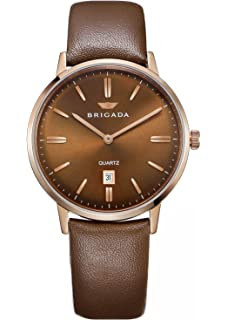 BRIGADA Swiss Brand Mens Dress Watches for Mature Men, Nice Business Casual Comfortable Leather Blue