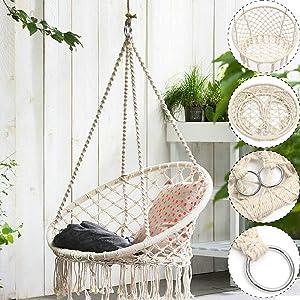 Alloyseed Hammock Swing Chair Knitted Mesh Cotton Rope Macrame Hanging Chair Room Decor for Kids Indoor Bedroom Living Room Garden Patio Deck Yard Reading Leisure Beige (Beige)