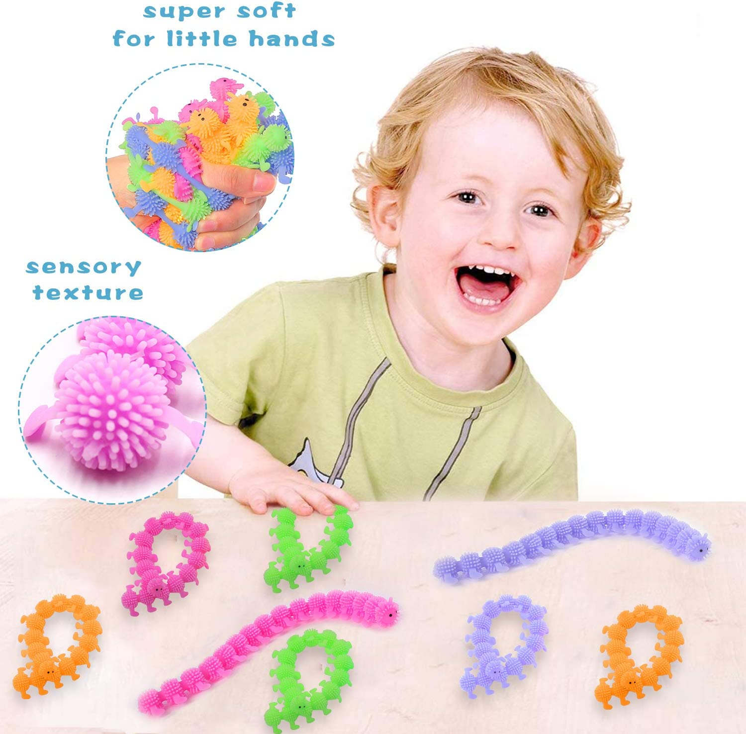 Calming Stretchy Stress and Anxiety Relief for Home School and Office (8 Pack) HEAWAA Sensory Toy Worm