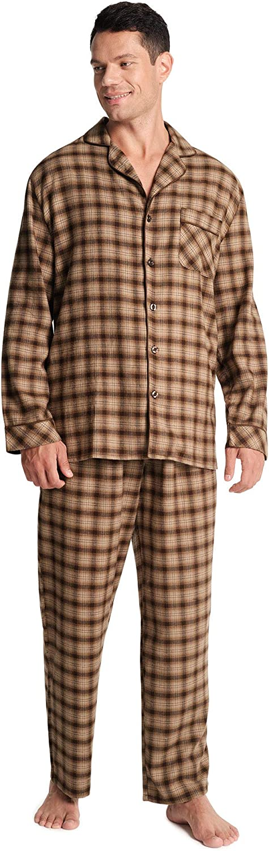 SIORO Mens Flannel Nightshirt Plaid Cotton Nightwear Loose Pajama Sleep Shirt
