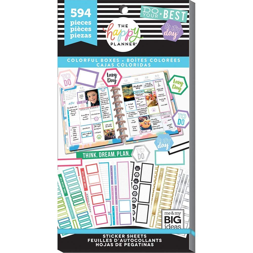 me & My Big Ideas PPSV-77-3048 The Happy Planner Value Pack Stickers-Colorful Boxes, Multicolor