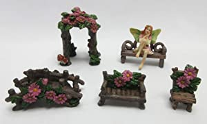 Enchanted Fairy Garden Accessories Outdoor - Fairy Secret Garden Kit with Arch, Bridge, Bench and Chair - Fairy Garden Supplies for Outdoor Decor and Home Decor - 5 Pcs Set