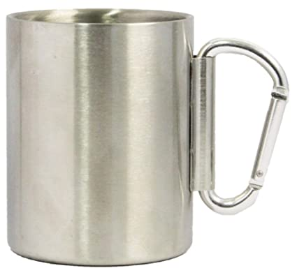 2613d766cb7 Stainless Steel carabiner mug With New Foldable Carabiner handle (14oz)