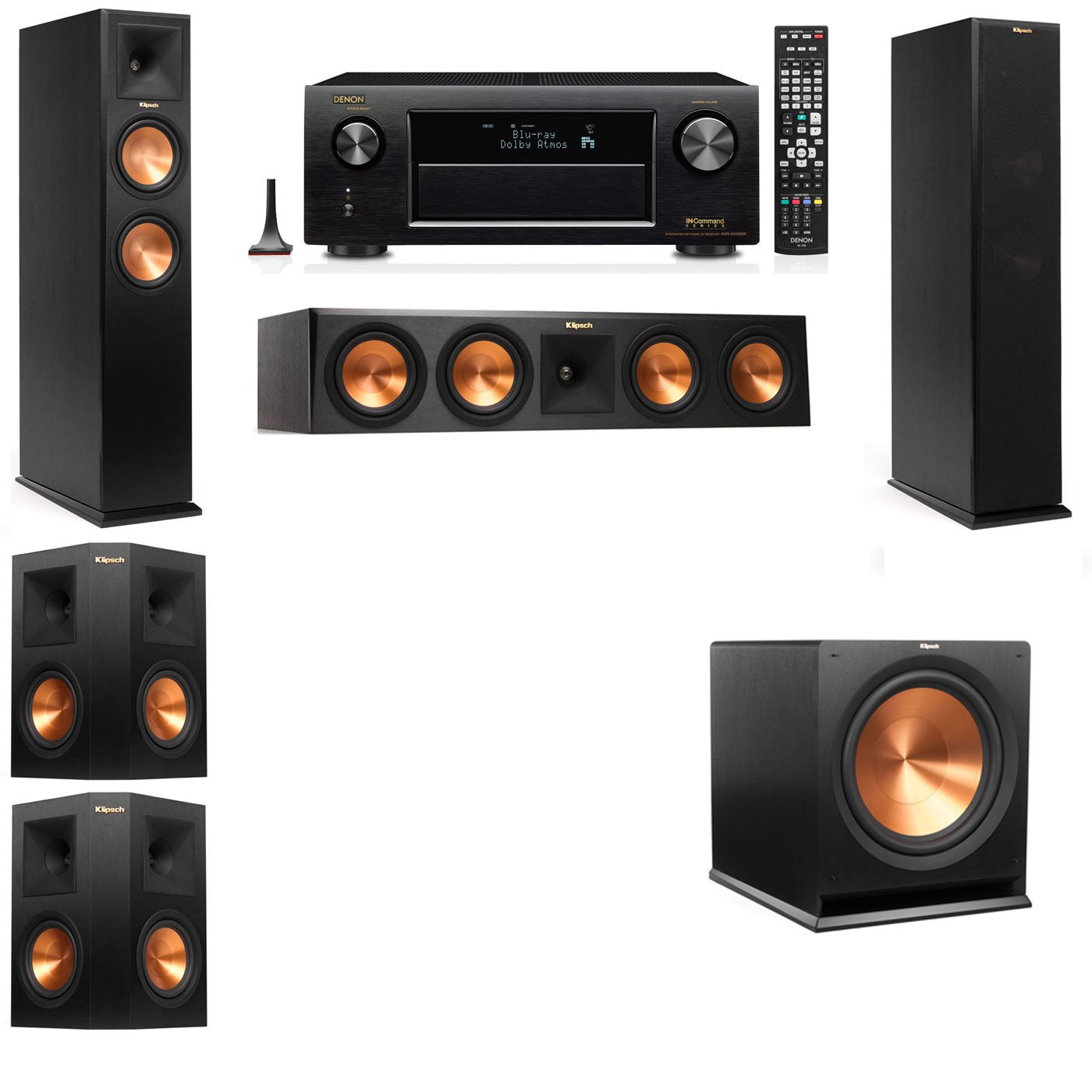 klipsch 5 1 speakers. amazon.com: klipsch rp-260f tower speakers-5.1-denon avr-x4100w: electronics 5 1 speakers