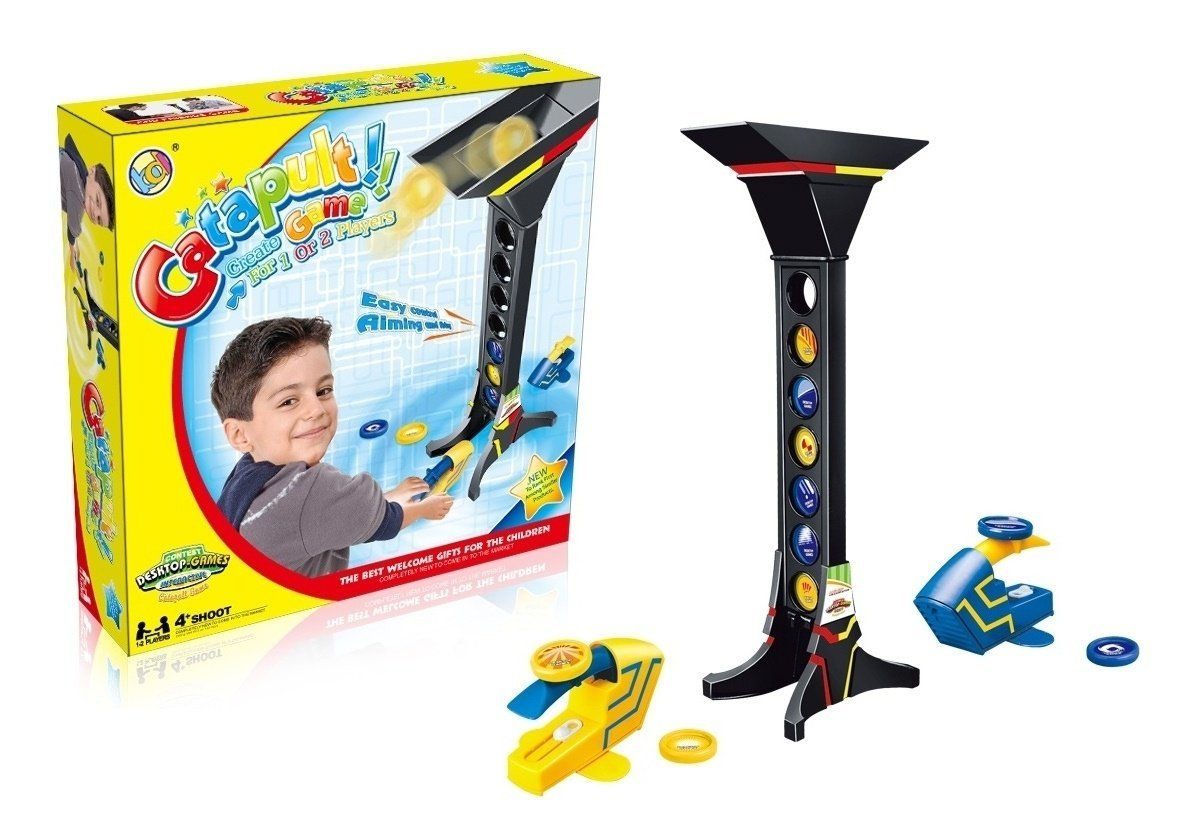 new Catapult Aiming Game advanced aiming skills of launching darts; an exciting contest between 1-2 players with a long tower having target holders LITTLE TREASURES B01CD5479Y