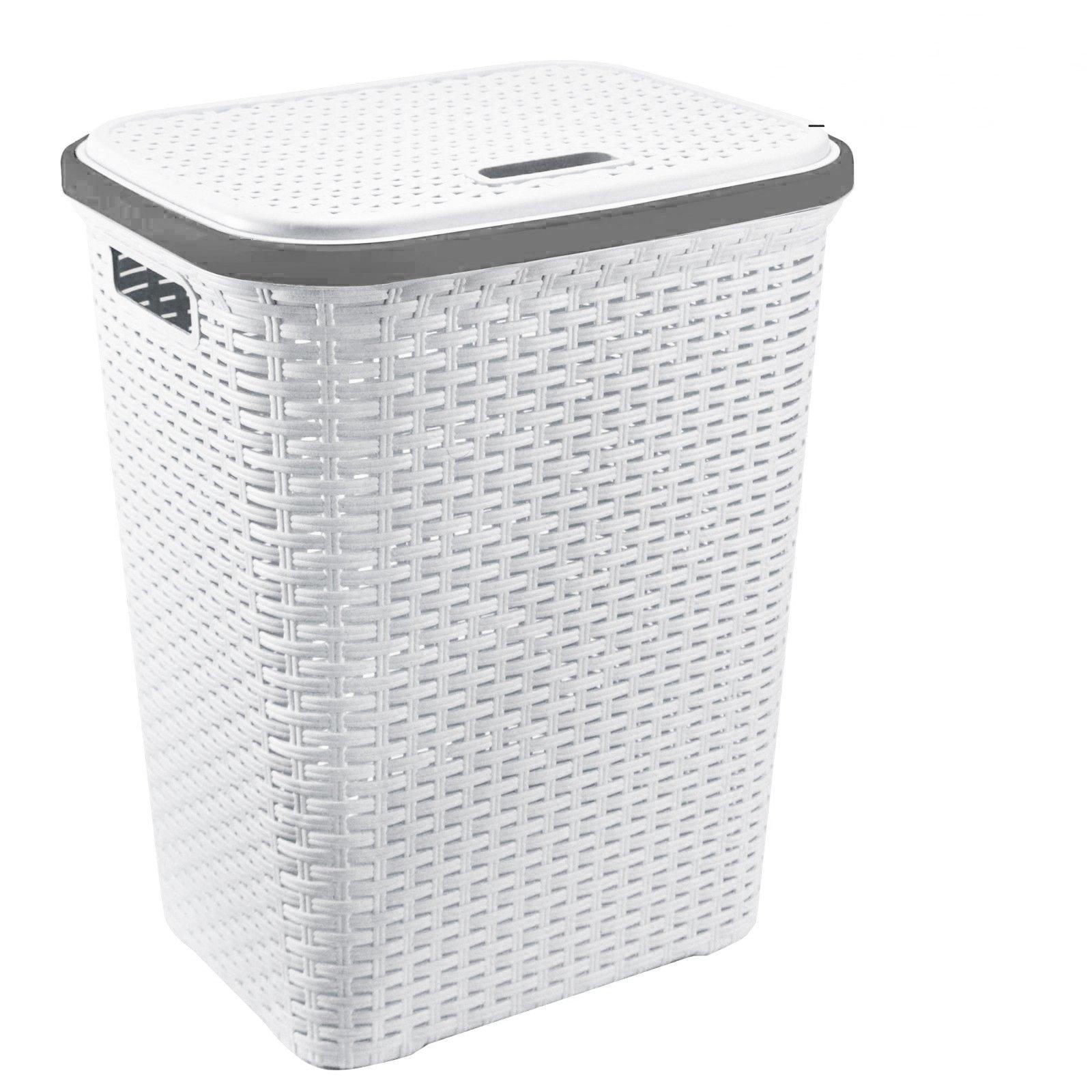 A406 Large Plastic Rattan Laundry Basket Clothes Hamper Linen Storage Lidded Bin Box Laundry Supplies Holder Tidy Silver
