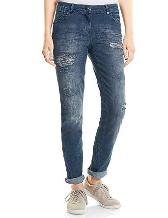 Cecil Damen Straight Jeans 371055 Scarlett, Blau (Dark Blue Wash 10315), W34