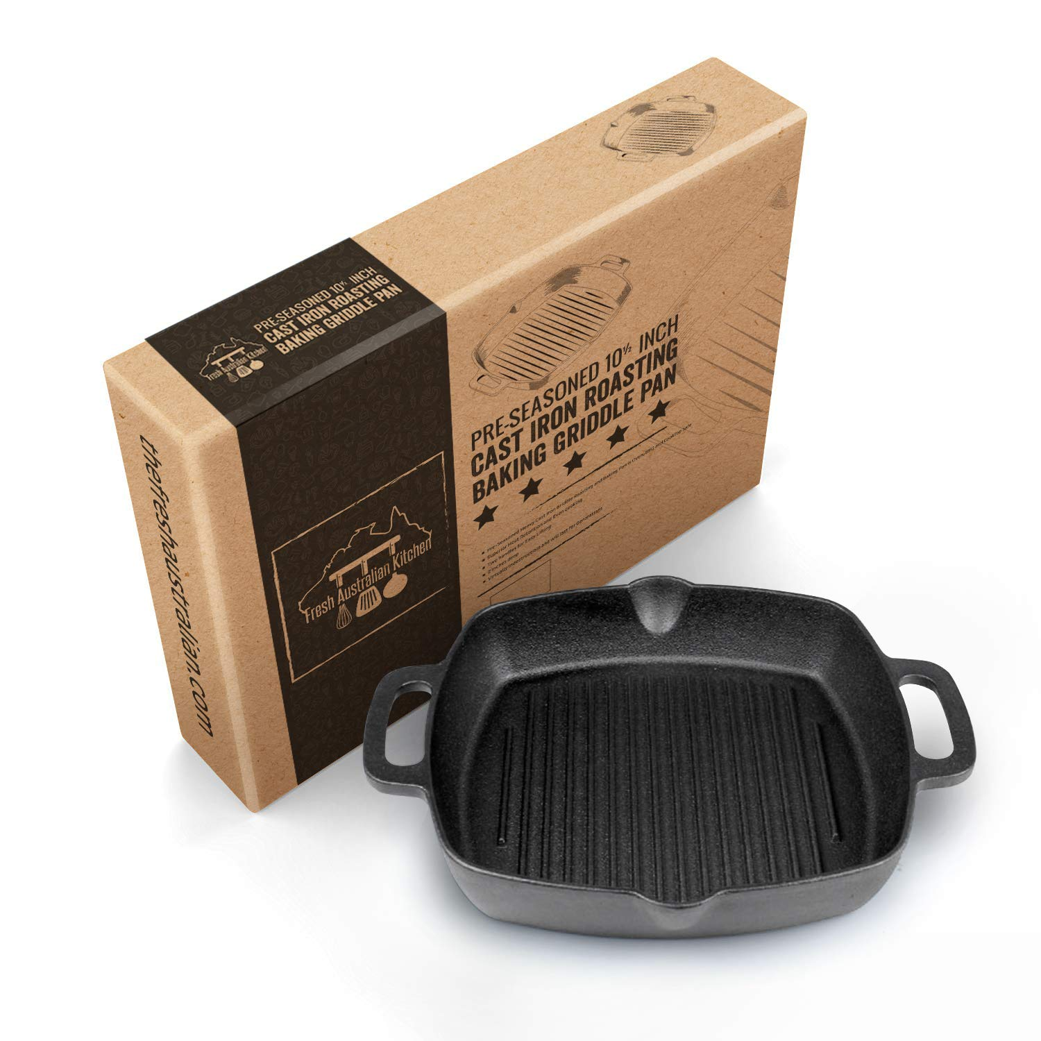 Fresh Australian Kitchen Pre-seasoned Cast Iron Grill Skillet Pan. 12 Inch (10.5 Inches Square) Compact Shape with Dual Handles. For Barbecue, Stove, Oven or Camping.