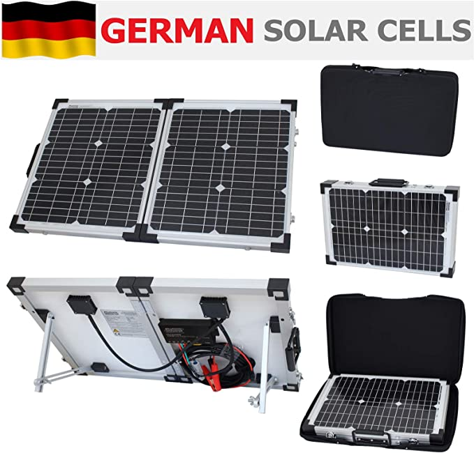 Photonic Universe - Kit de carga solar plegable portátil de 40 W y 12 V con funda protectora y cable de 5 m para autocaravana, caravana, camping, ...